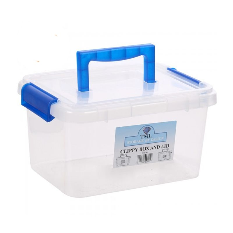 3.5L TML Stacking Plastic Storage Box Clear Clip Lid With Blue Handle