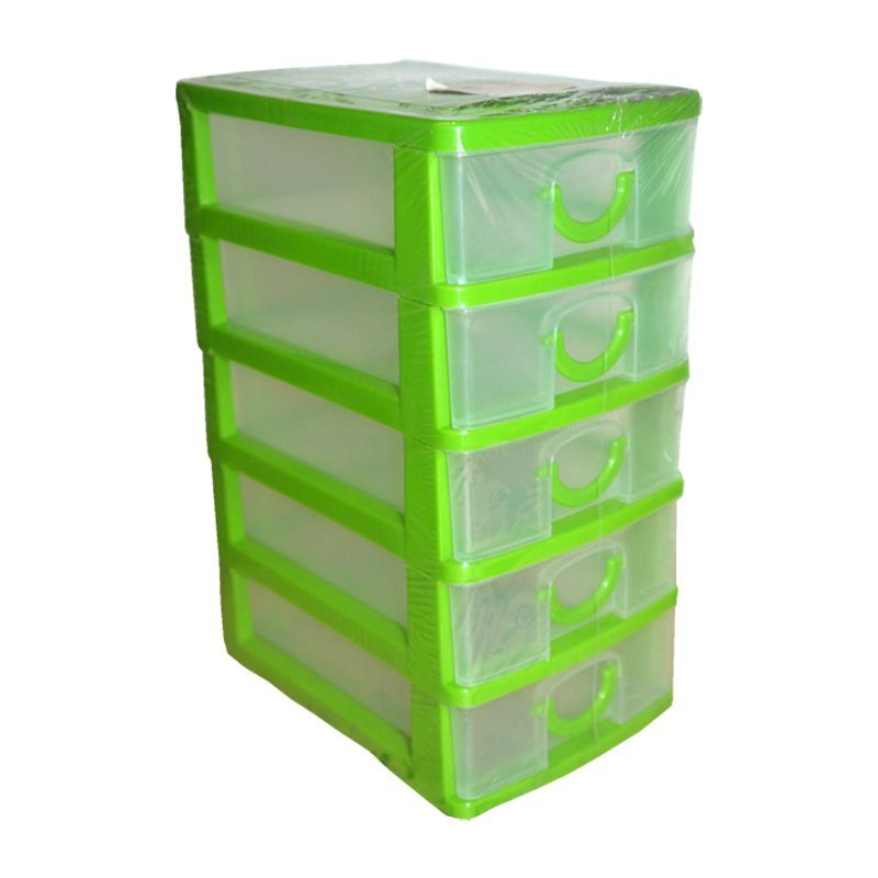 2L Handy Home 5 Drawer Plastic Storage Tower Green