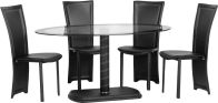 See more information about the Cameo Oval Dining Set - BLACK/CLEAR