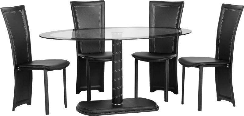 Cameo Oval Dining Set - BLACK/CLEAR