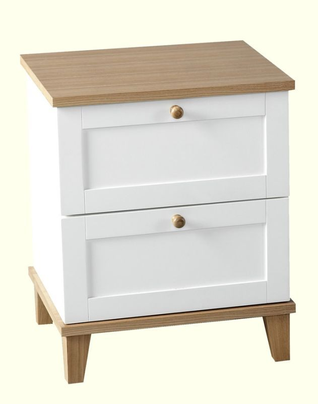 Arcadia 2 Drawer Bedside Chest - WHITE/ASH