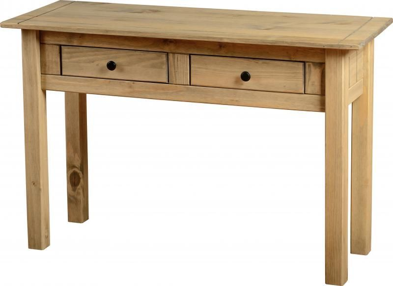 Panama Console Table (2 Drawer) - DISTRESSED WAXED PINE