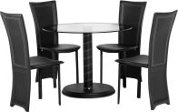 See more information about the Cameo Round Dining Set - BLACK/CLEAR