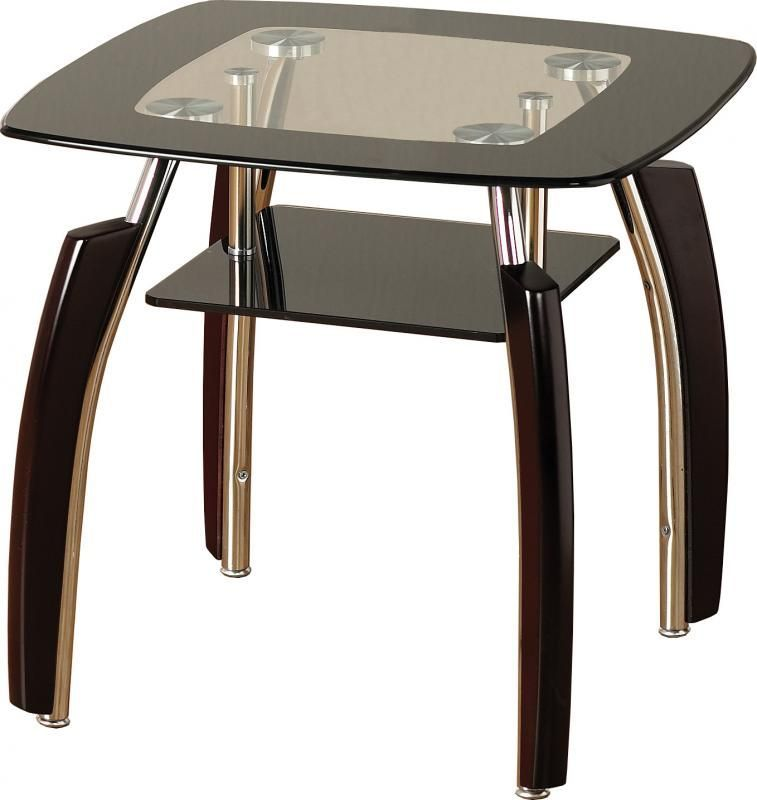 Elena Glass Lamp Table - CLEAR/BLACK