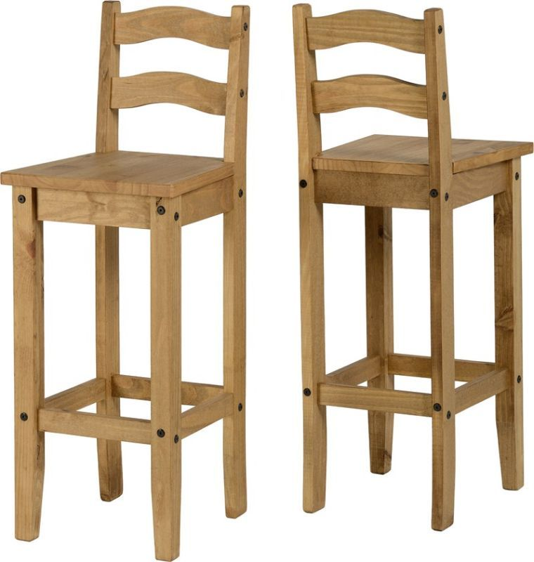 Corona Wooden Bar Chair (PAIR) - DISTRESSED WAXED PINE