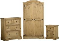 See more information about the Corona Bedroom Trio (Chest, Wardrobe & Cabinet) - DISTRESSED WAXED PINE