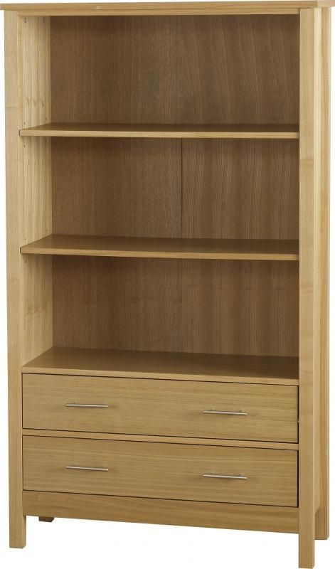 Oakleigh 2 Drawer Bookcase (High) - NATURAL OAK VENEER