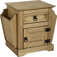 See more information about the Corona 1 Drawer Magazine Table - DISTRESSED WAXED PINE