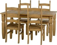 See more information about the Corona 5' Dining Set - DISTRESSED WAXED PINE