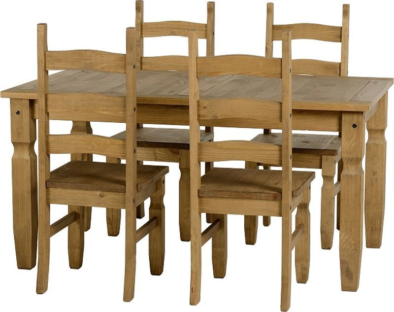 Corona 5' Dining Set - DISTRESSED WAXED PINE
