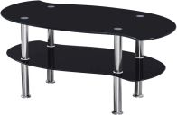 See more information about the Colby Coffee Table - BLACK GLASS/SILVER