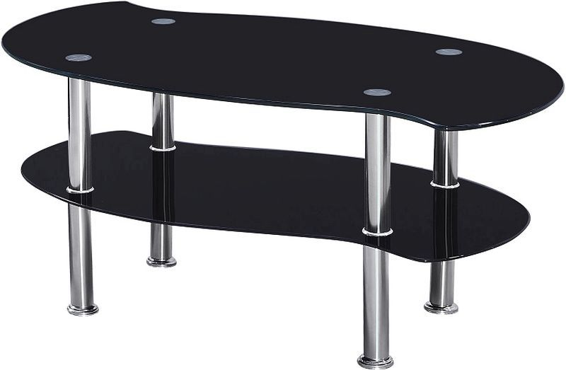 Colby Coffee Table - BLACK GLASS/SILVER