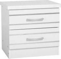 See more information about the Jordan 2 Drawer Bedside Chest - WHITE/SILVER