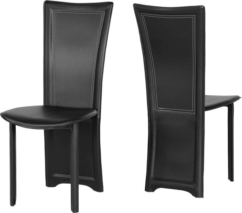 Cameo Leather Style Dining Chair - BLACK