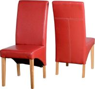 See more information about the G1 Leather Style Dining Chair - RUSTIC RED