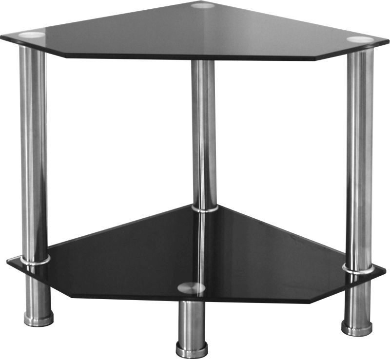 Alto Occasional Stand - BLACK GLASS/SILVER