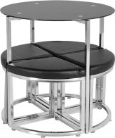 See more information about the Grafton Stowaway Dining Set - BLACK GLASS/CHROME