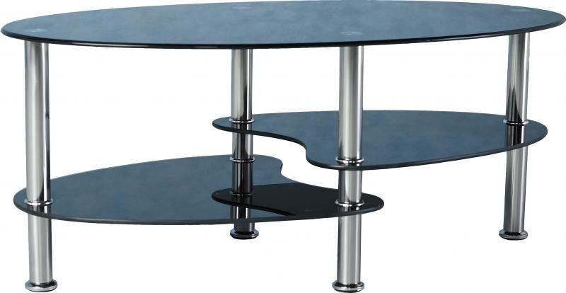 Cara Coffee Table - BLACK GLASS/SILVER