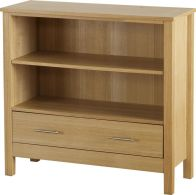 See more information about the Oakleigh Low Bookcase (1 Drawer) - NATURAL OAK VENEER
