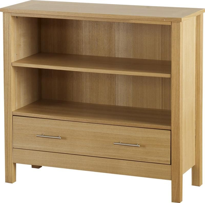 Oakleigh Low Bookcase (1 Drawer) - NATURAL OAK VENEER