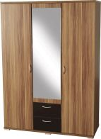 See more information about the Hollywood Mirrored Wardrobe (3 Door 2 Drawer) - WALNUT VENEER/BLACK GLOSS