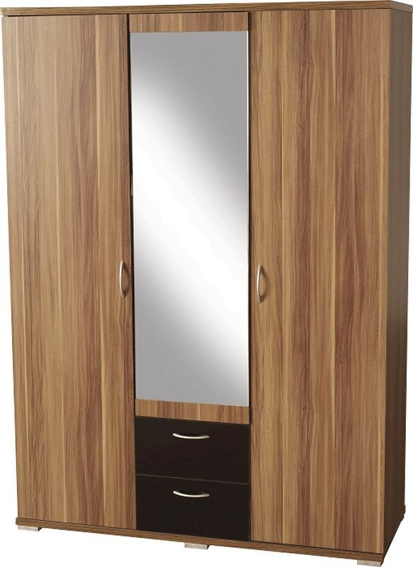 Hollywood Mirrored Wardrobe (3 Door 2 Drawer) - WALNUT VENEER/BLACK GLOSS