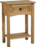 See more information about the Corona Console Table with Shelf (1 Drawer) - DISTRESSED WAXED PINE