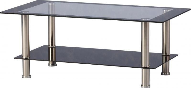 Harlequin Coffee Table - CLEAR/BLACK GLASS/CHROME
