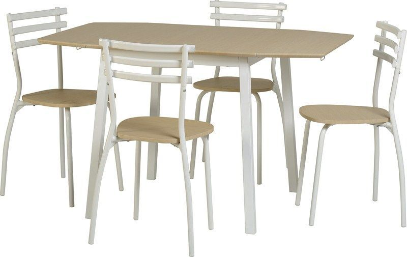 Langley Drop Leaf Dining Set - BEECH/WHITE