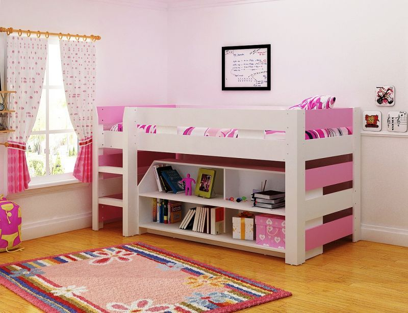 Lollipop Single Bed with Storage - Pink/White