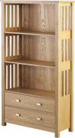 See more information about the Ashmore High Wooden Bookcase  (2 Drawer) - ASH VENEER