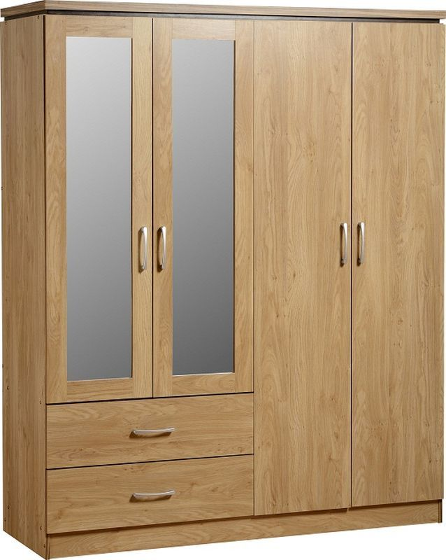 Charles Mirrored Wardrobe (4 Door 2 Drawer) - OAK VENEER/WALNUT TRIM