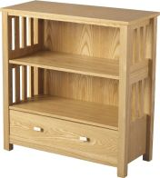 See more information about the Ashmore Low Bookcase (1 Drawer) - ASH VENEER