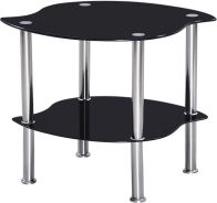 See more information about the Colby Lamp Table - BLACK GLASS/SILVER