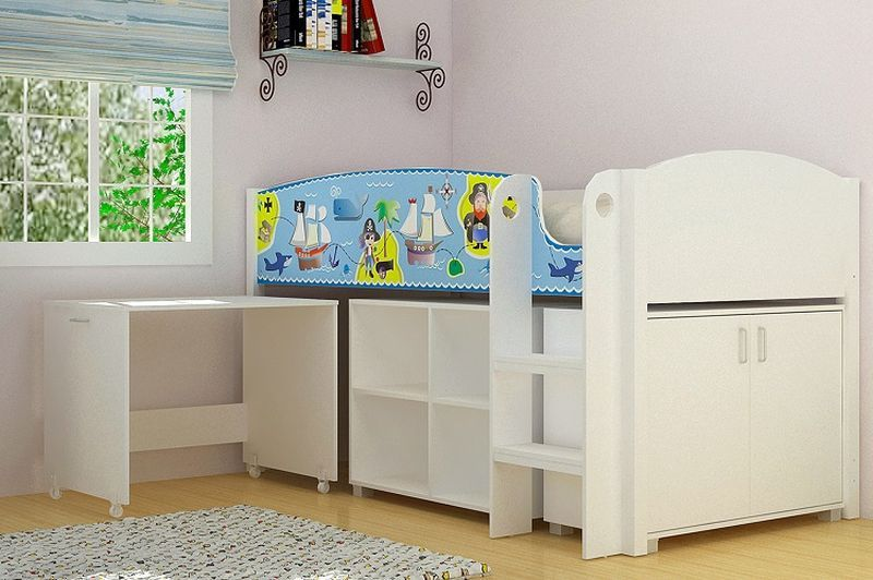 Pirate Study Single Bunk Bed - White