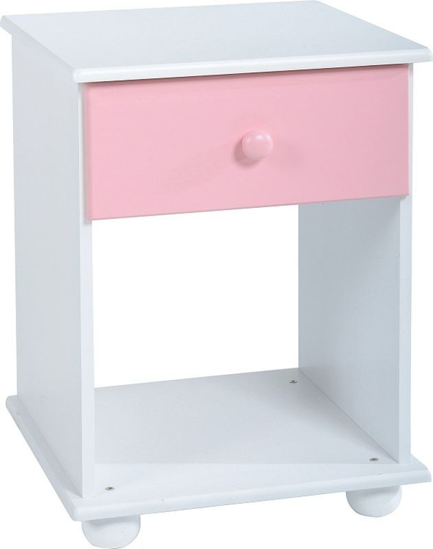 Rainbow 1 Drawer Bedside Cabinet - PINK/WHITE