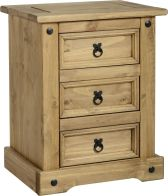 See more information about the Corona 3 Drawer Bedside Chest - DISTRESSED WAXED PINE