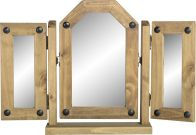 See more information about the Corona Triple Swivel Mirror - DISTRESSED WAXED PINE