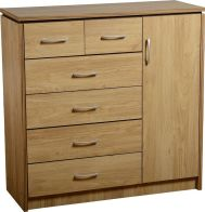 See more information about the Charles 1 Door 6 Drawer Chest - OAK VENEER/WALNUT TRIM