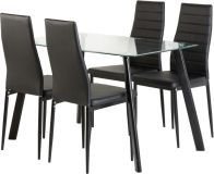 See more information about the Abbey Dining Set - CLEAR GLASS/BLACK