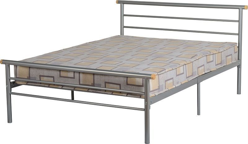 Orion Small Double Bed - Silver/Natural Wood