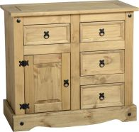 See more information about the Corona Wooden Sideboard (1 Door/4 Drawer) - DISTRESSED WAXED PINE