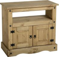 See more information about the Corona TV Cabinet (2 Door) - DISTRESSED WAXED PINE