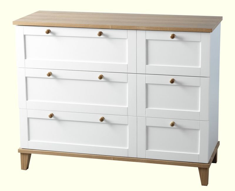 Arcadia Bedroom Chest (3 Drawer) - WHITE/ASH VENEER