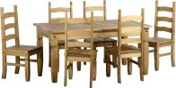 See more information about the Corona Extending Dining Set (1+6) - DISTRESSED WAXED PINE