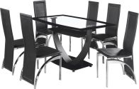 See more information about the Henley Dining Set - BLACK BORDER GLASS/CHROME