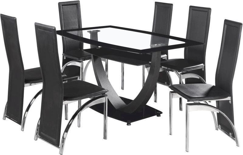 Henley Dining Set BLACK BORDER GLASSCHROME Buy Online  : 5002987 HENLEYDININGSET from www.qdstores.co.uk size 800 x 512 jpeg 64kB