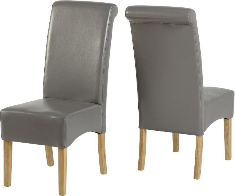 G10 Leather Style Dining Chair - SILVER GREY