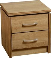 See more information about the Charles 2 Drawer Bedside Chest - OAK VENEER\WALNUT TRIM