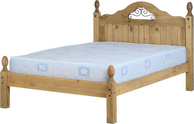 Corona Scroll Double Bed - Distressed Waxed Pine